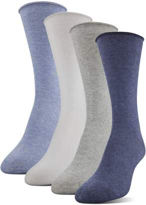 Alöe Medipeds MediPEDS Women's Vera Infused Roll Top Crew Socks 4-Pack