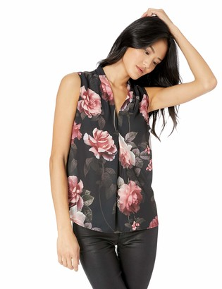 Nine West Women's Sleeveless Inverted Pleat Neck Printed Blouse
