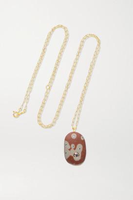 Cvc Stones Blob 18-karat Gold, Stone And Diamond Necklace - one size