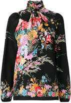 No.21 neck tie floral blouse