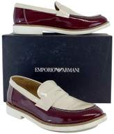 Giorgio Armani Emporio Oxblood & Ivory Patent Leather Loafers