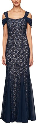 Alex Evenings Long Fit-and-Flare Cold-Shoulder Dress (Navy/Nude) Women's Dress