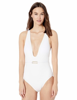 La Blanca Women's V-Front Cross Back One Piece Swimsuit