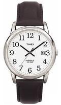 Timex Men's Silvertone EZ-Reader Black Leather Strap Watch