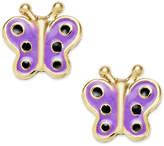 Macy's Children's Enamel Butterfly Stud Earrings in 18k Gold over Sterling Silver