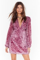 Nasty Gal Womens Party Thyme Floral Velvet Dress - purple - 4, Purple