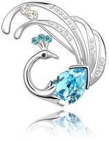 HuntGold 1X Women Fashion Scarf Buckle Crystal Diamond Chic Phoenix Design Collar Pin Brooch Breastpin