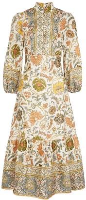 Zimmermann Edie Ivory Printed Linen Dress