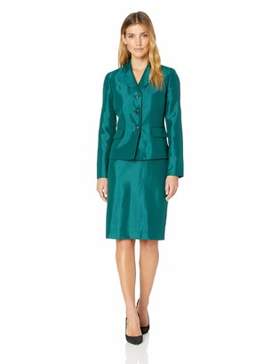 Le Suit LeSuit Women's 3 Button Wide Lapel Shiny Skirt Suit