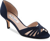 Nina Coella d'Orsay Peep-Toe Kitten-Heel Evening Sandals