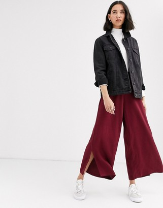 NATIVE YOUTH wide leg pants with ring pull in satin two-piece
