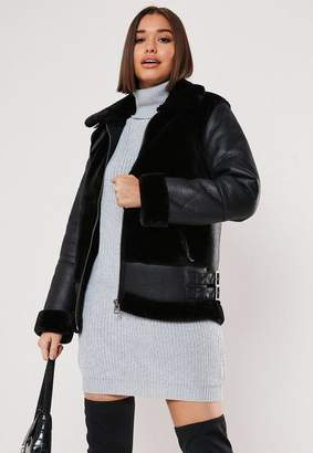 Missguided Black Faux Fur Ultimate Aviator Jacket