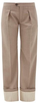 Chloé Striped-cuff Virgin-wool Wide-leg Trousers - Womens - Khaki