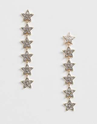 Johnny Loves Rosie multi star jewel drop earrings in gold