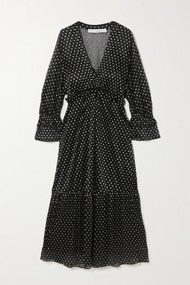 IRO Mawson Ruffled Polka-dot Fil Coupe Chiffon Midi Dress - Black