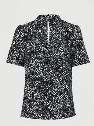 Very Short Sleeve High Neck Shell Top - Black Print