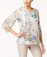 JM Collection Printed Chiffon-Sleeve Tunic, Created for Macy's