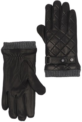 Diamond Quilted Leather Strap Gloves