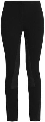 Theory Leather-trimmed Ponte Slim-leg Pants