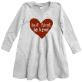 Urban Smalls Light Heather Gray 'But First Be Kind' Swing Dress - Toddler & Girls