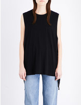 Helmut Lang Side-tie cotton and cashmere-blend top