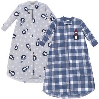 Hudson Baby Boys' Infant Sleeping Sacks Blue - Blue & Gray Penguin Fleece Long-Sleeve Gown - Set of Two