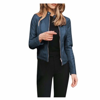 Terby Women Leather Jacket Classic Ladies Lapel Motor Zip Up Jacket Coat Zip Biker Short Punk Cropped Tops Outerwear for Date Night Formal Club Party Beach Holiday Shopping Casual Daily Wear