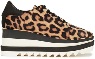 Stella McCartney Sneak Elyse Leopard-print Velvet And Faux Suede Platform Sneakers