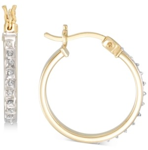 Giani Bernini Diamond Accent Round Hoop Earrings in 18k Gold-Plated Sterling Silver, Created for Macy's