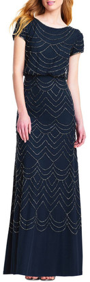 Adrianna Papell Short Sleeve Beaded Maxi