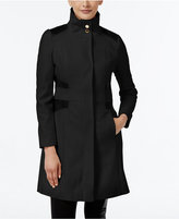 Via Spiga Petite Faux-Leather-Trim Wool-Blend Walker Coat