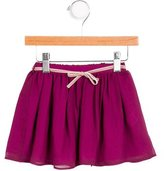 Marie Chantal Girls' Velvet-Trimmed Silk Skirt