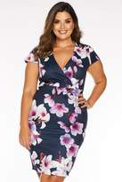 Quiz Curve Navy Pink and Purple Floral Midi Dress