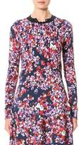Carolina Herrera Pansy-Print Cardigan Sweater