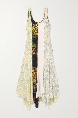 J.W.Anderson Asymmetric Patchwork Floral-print Georgette Maxi Dress - Black