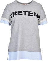 N°21 Pretend Pattern Sweatshirt From Gray Pretend Pattern Sweatshirt With Round Neck, Short Sleeves, Striped Cuffs And Hem.