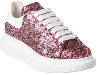 Alexander McQueen Lace-Up Glitter Leather Sneaker