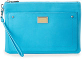 Love Moschino Saffiano Faux-Leather Clutch Bag, Light Blue