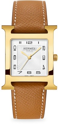 Hermes Heure H 30.5MM Goldplated & Leather Strap Watch