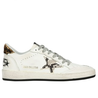 Golden Goose Leather Sneakers With Python Print Star