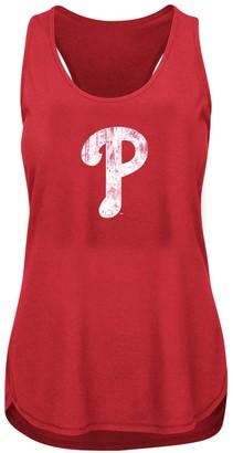 Women's Heathered Red Philadelphia Phillies Plus Size Racerback Tank Top