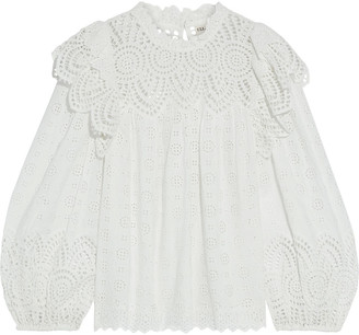 Ulla Johnson Holland Ruffled Broderie Anglaise Cotton-blend Blouse