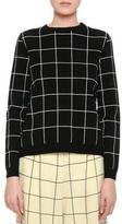 Valentino Windowpane Boxy Crewneck Sweater, Black
