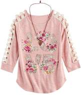 Knitworks Girls 7-16 Crochet Lattice Top with Necklace