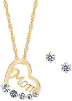 Charter Club Gold-Tone Crystal Mom Heart Pendant Necklace & Stud Earrings Set, Only at Macy's