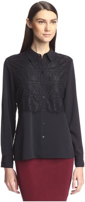 Society New York Women's Lace Panel Shirt
