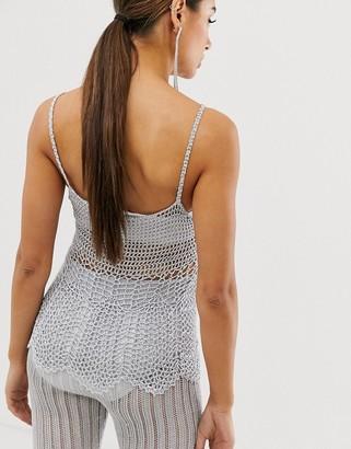 ASOS DESIGN co-ord crochet cami in metalic yarn