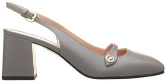 Pollini Grey Leather Slingback