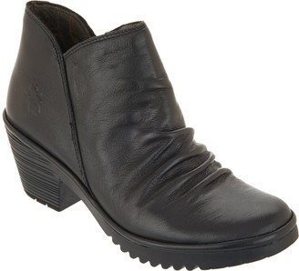 Fly London Leather Ruched Ankle Boots - Wezo