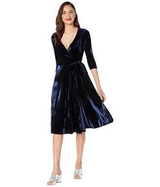 Unique Vintage 1940s Style Velvet Kelsie Wrap Dress (Navy) Women's Dress